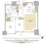 Brillia Tower 有明 MID CROSS D type 2LDK+WIC+SIC+SIP 専有面積 63.05m²(約19.07坪)間取り