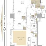 Brillia Tower 有明 MID CROSS M type  3LDK+WIC+SIC 専有面積 84.09m²(約25.43坪)間取り